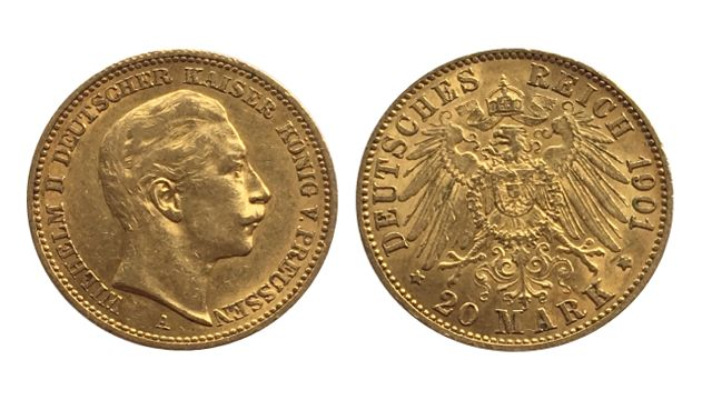 German Gold 20 Mark Wilhelm II
